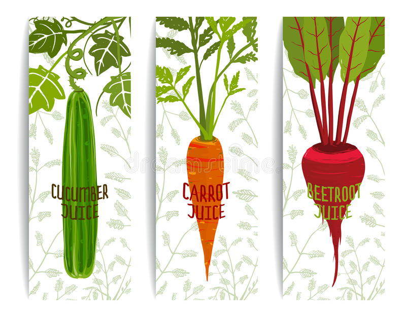 Healthy Juices Design Collection on White with. Brightly colored vegetables for healthy diet. Layered vector EPS8 stock illustration