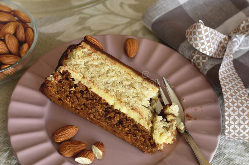 Homemade baked keto dessert made of walnuts, almonds and cashew nuts cream stock images
