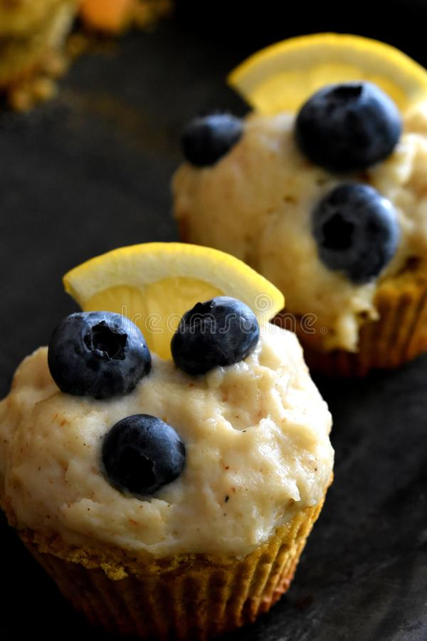 Healthy keto muffins on dark surface royalty free stock photo