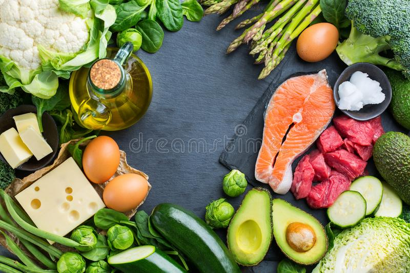 Healthy ketogenic low carb food for balanced diet. Balanced diet nutrition keto concept. Assortment of healthy ketogenic low carb food ingredients for cooking on stock images