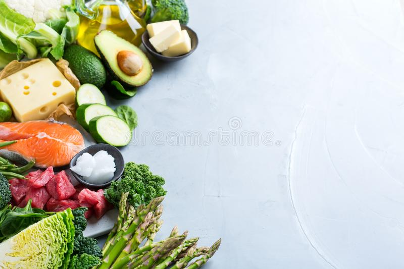 Healthy ketogenic low carb food for balanced diet. Balanced diet nutrition keto concept. Assortment of healthy ketogenic low carb food ingredients for cooking on royalty free stock photo
