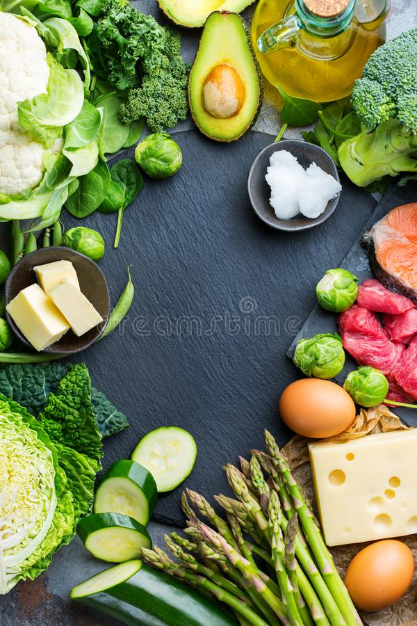 Healthy ketogenic low carb food for balanced diet. Balanced diet nutrition keto concept. Assortment of healthy ketogenic low carb food ingredients for cooking on stock photos
