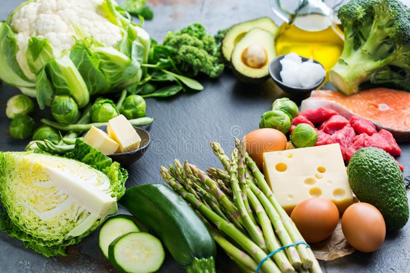 Healthy ketogenic low carb food for balanced diet. Balanced diet nutrition keto concept. Assortment of healthy ketogenic low carb food ingredients for cooking on royalty free stock photos