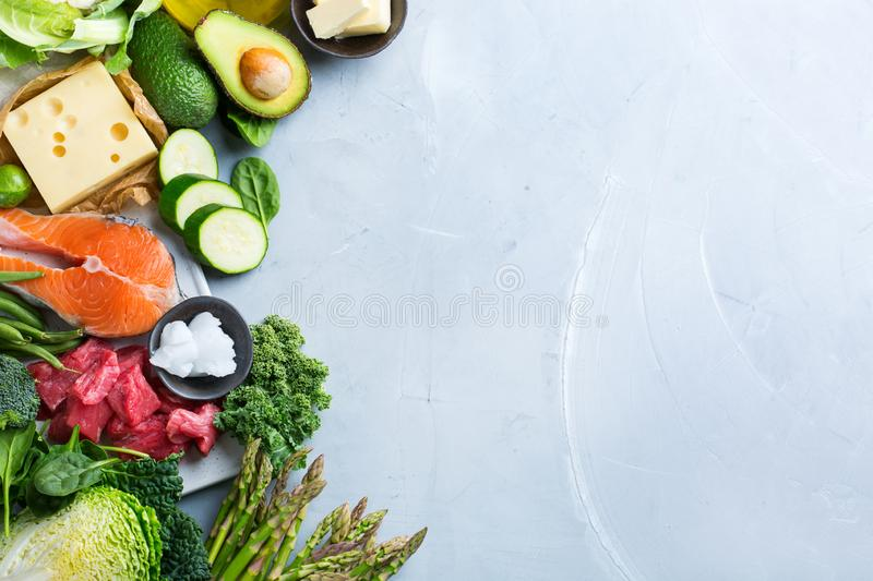 Healthy ketogenic low carb food for balanced diet. Balanced diet nutrition keto concept. Assortment of healthy ketogenic low carb food ingredients for cooking on royalty free stock image