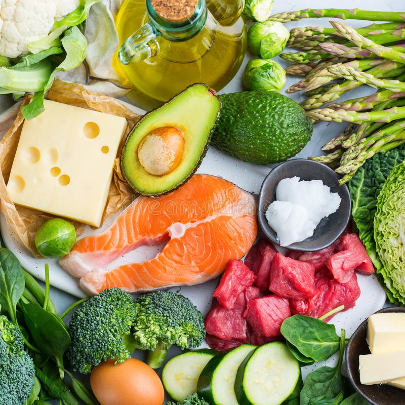 Healthy ketogenic low carb food for balanced diet. Balanced diet nutrition keto concept. Assortment of healthy ketogenic low carb food ingredients for cooking on stock photography