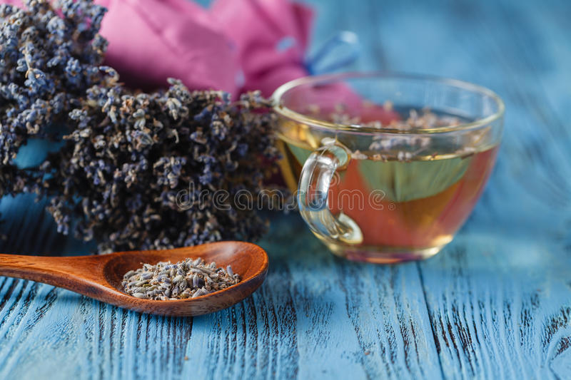 Healthy lavender tea cup stock image