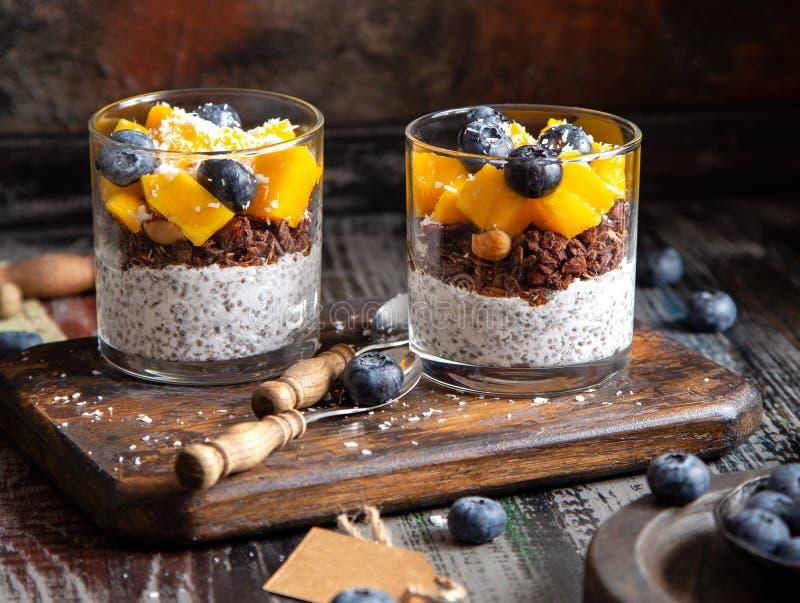 Healthy layered dessert white chia seeds pudding, chocolate granola, mango, blueberries royalty free stock image
