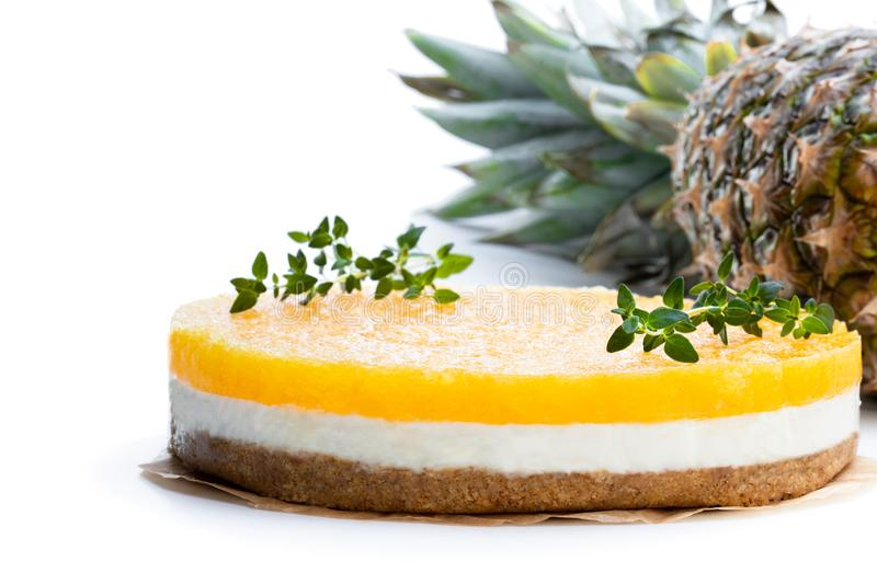 Healthy layered pineapple cheese cake isolated on white. Healthy  layered pineapple cheese cake isolated on white royalty free stock photos
