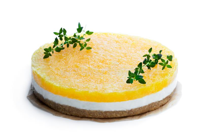 Healthy layered pineapple cheese cake isolated on white. Healthy  layered pineapple cheese cake isolated on white royalty free stock photo