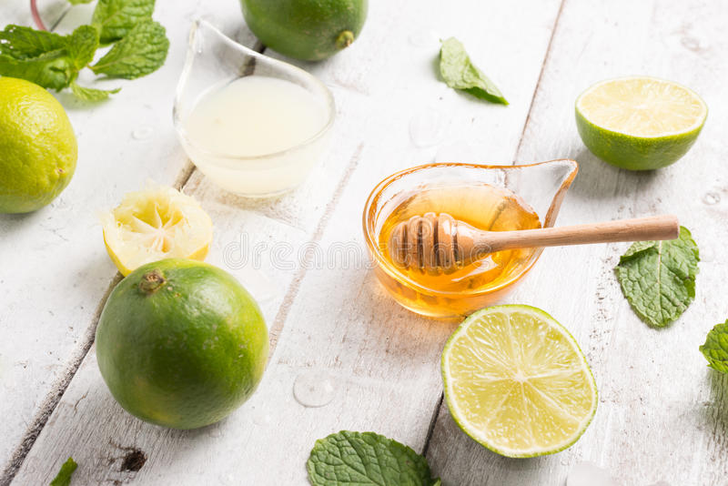 healthy lemonade lime with mint and ice stock images