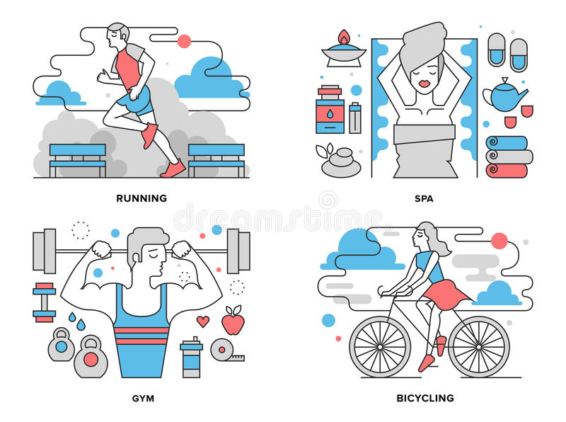 Healthy life flat line illustration. Flat line illustration set of healthy living activity, boy doing exercises in gym, girl cycling on bicycle in park, outdoor royalty free illustration