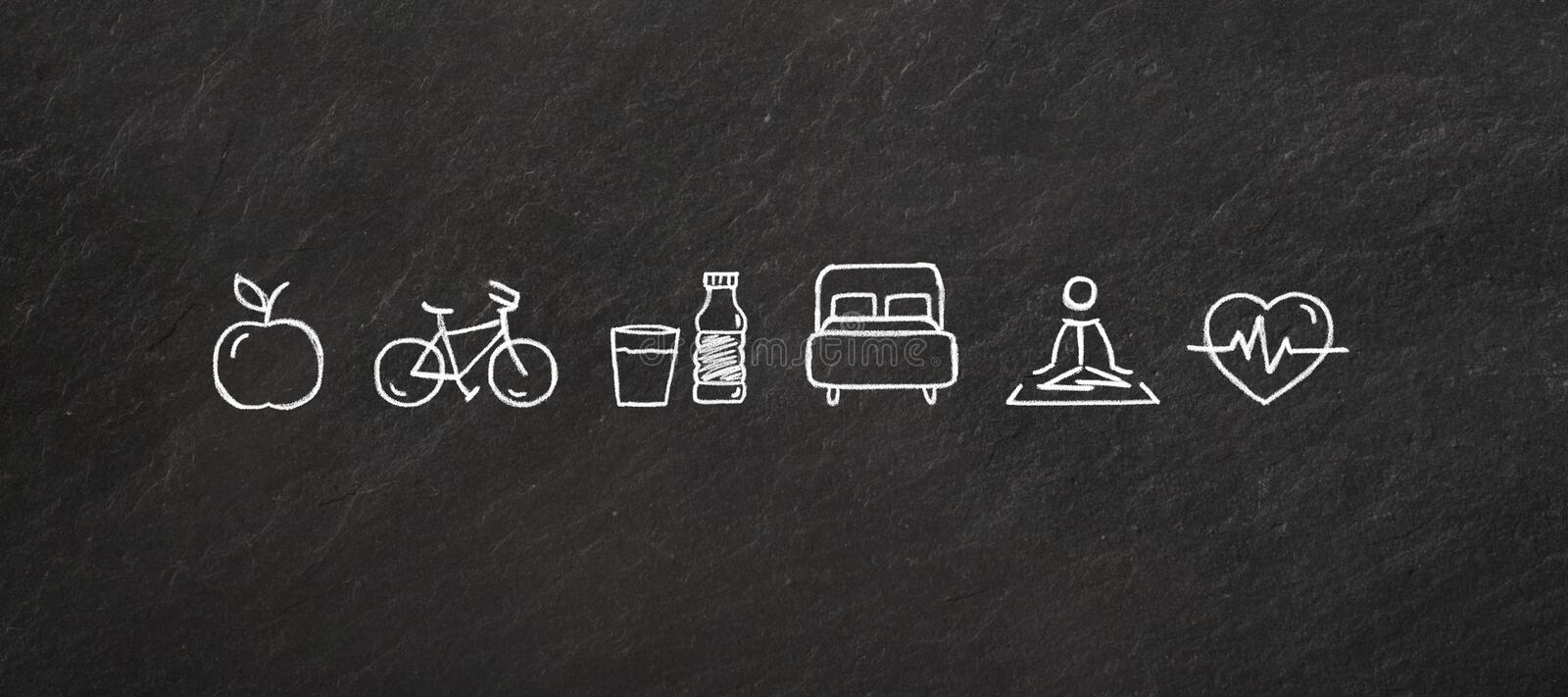 `Healthy life` icons on a blackboard. vector illustration