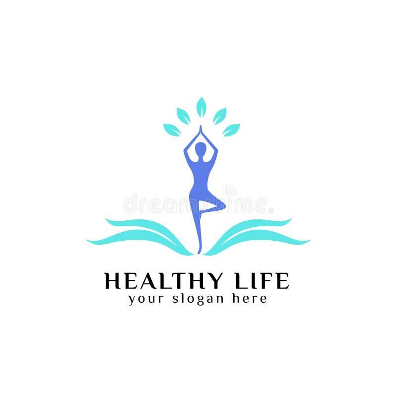 Healthy life logo design vector in blue color. healthcare logo vector icon stock illustration