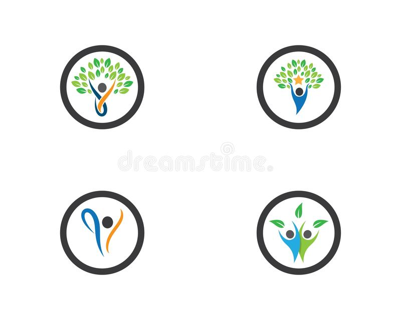 Healthy life logo template. Vector icon illustration design, symbol, sport, green, medical, human, people, creative, ecology, apple, beauty, body, brand stock illustration