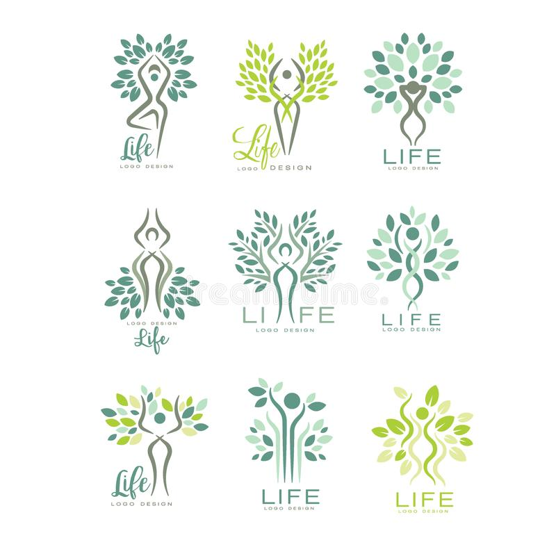Healthy life logo for wellness center, spa salon or yoga studio. Harmony with nature. Set of flat vector emblems with royalty free illustration