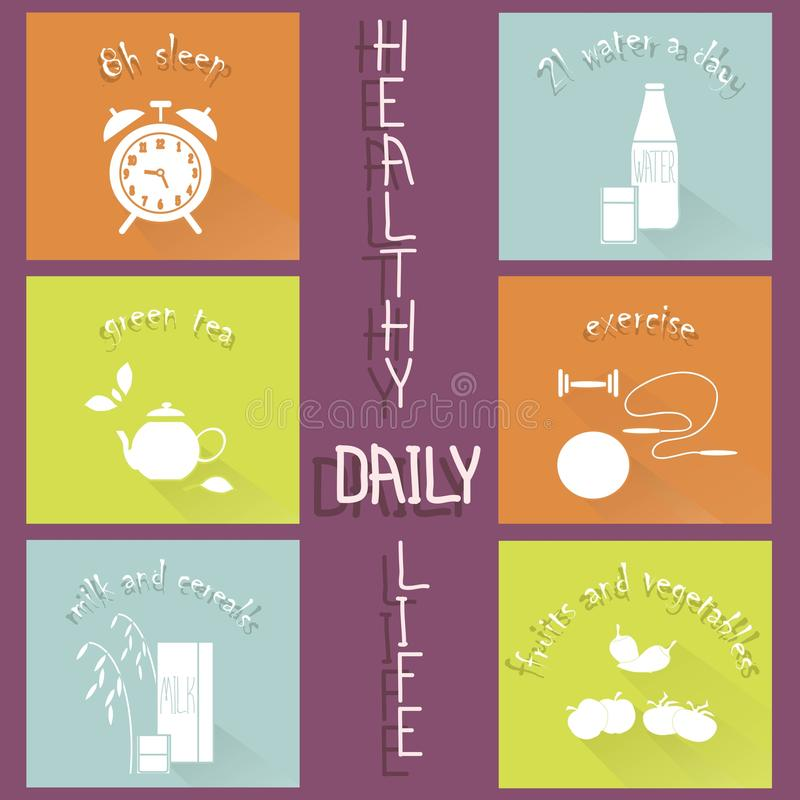 Healthy daily life modern flat hand drawn icons on purple. Vector illustration vector illustration