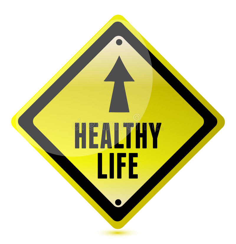 Healthy Life Road Sign illustration. Design stock illustration