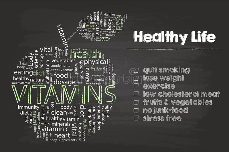Healthy Life Steps Graphic. With Vitamins Word Cloud Apple On Blackboard stock illustration