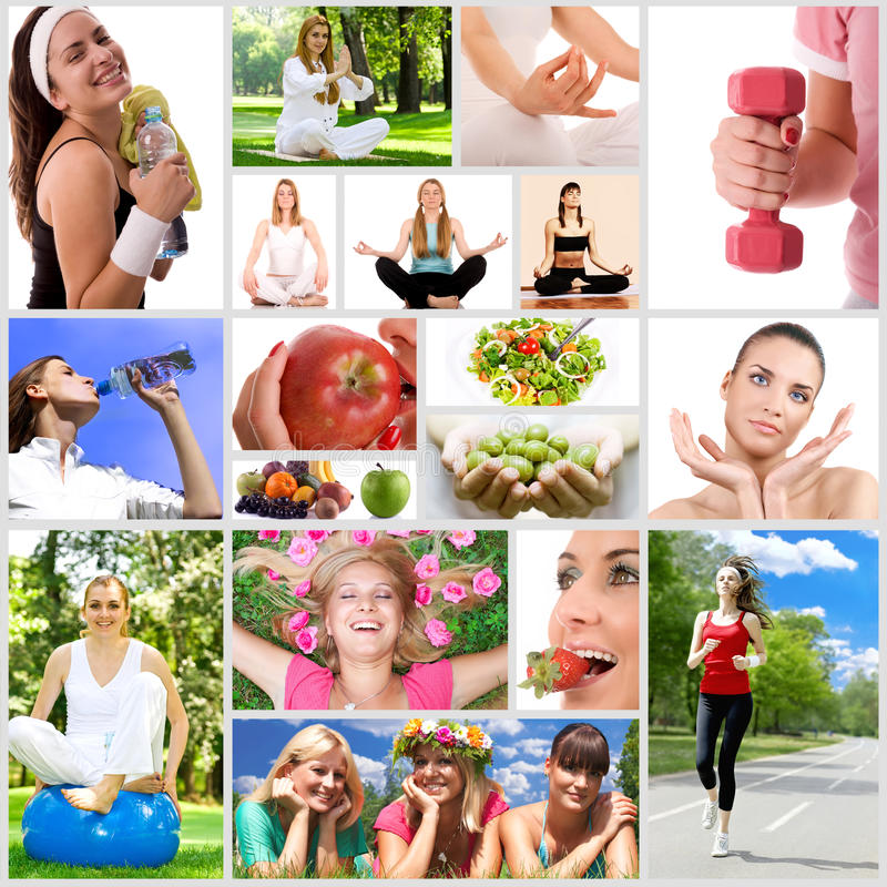 Healthy lifestyle. Collage with fitness woman and food stock image
