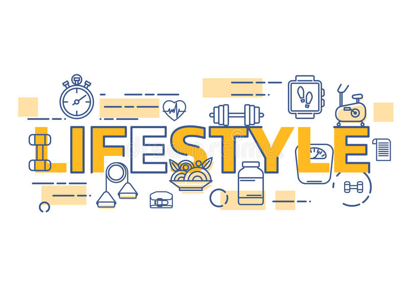 Healthy lifestyle banner concept. Thin line flat design banners for lifestyle word. Modern vector illustration concept easy to use and highly customizable royalty free illustration