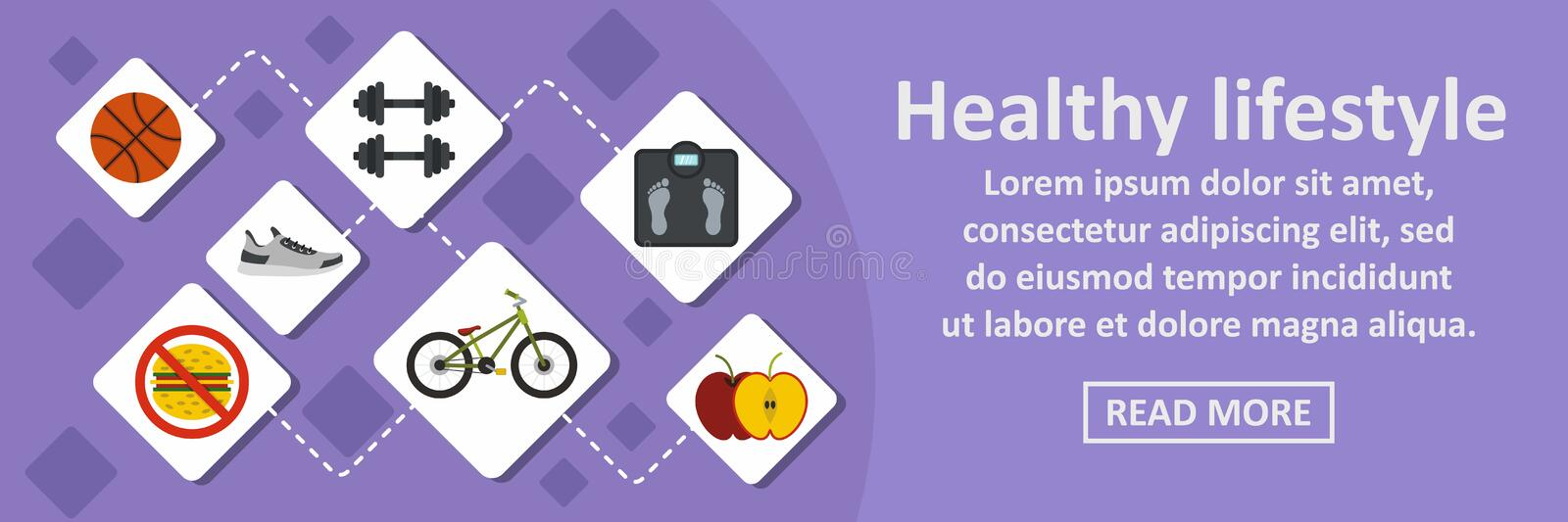 Healthy lifestyle banner horizontal concept. Flat illustration of healthy lifestyle banner horizontal vector concept for web vector illustration