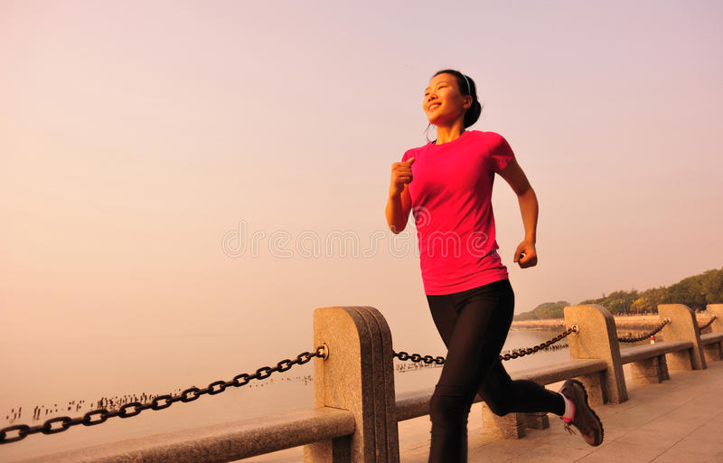 Healthy Lifestyle Beautiful Asian Woman Running Royalty Free Stock Photography