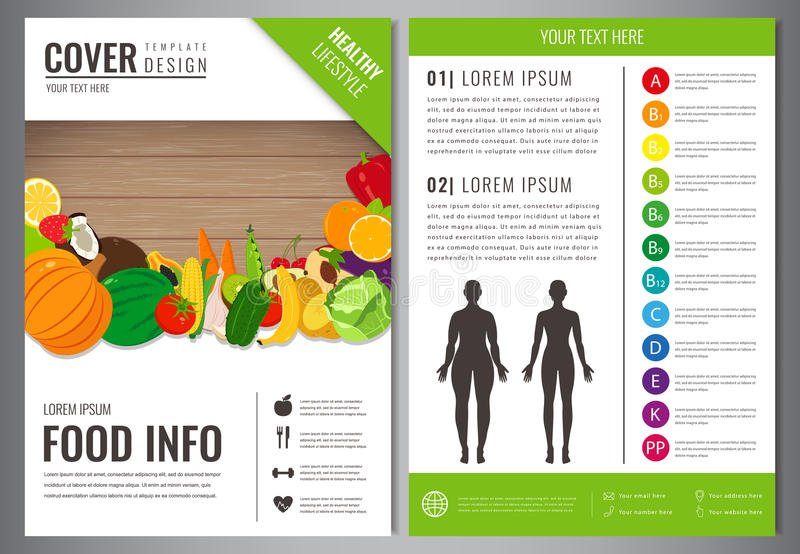 Healthy Lifestyle Brochure design template. Healthy eating concept. Food and drink. Vector. Healthy Lifestyle Brochure design template. Healthy eating concept stock illustration