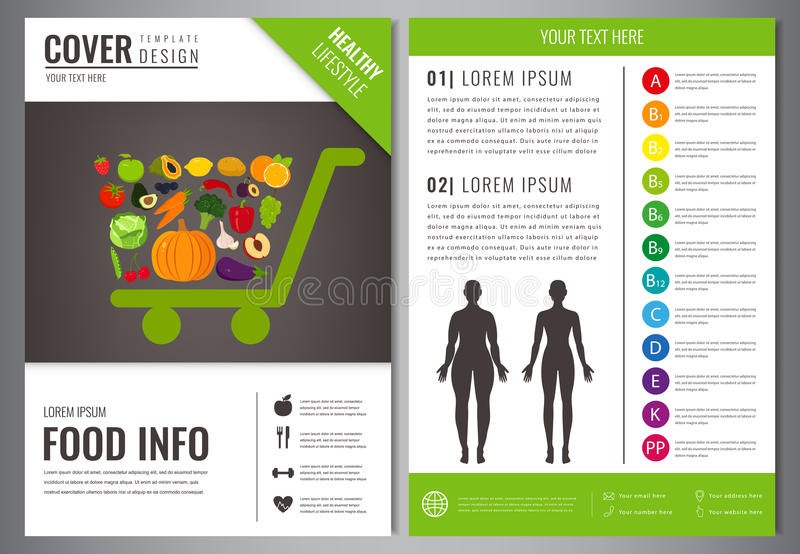 Healthy Lifestyle Brochure design template. Healthy eating concept. Food and drink. Vector. Healthy Lifestyle Brochure design template. Healthy eating concept royalty free illustration