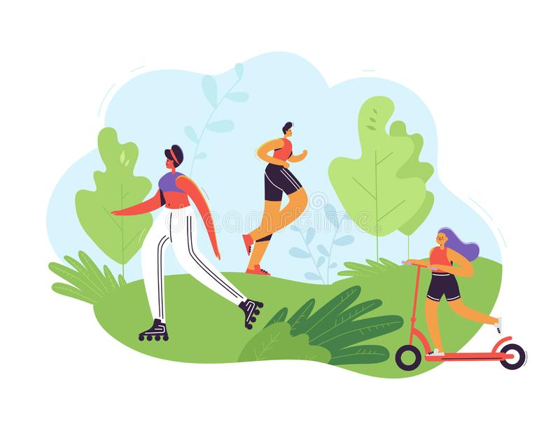 Healthy Lifestyle Concept. Active People Exercising in Park. Man Running, Woman Roller Skating, Girl Riding Pushscooter. Outdoor Activities. Vector stock illustration