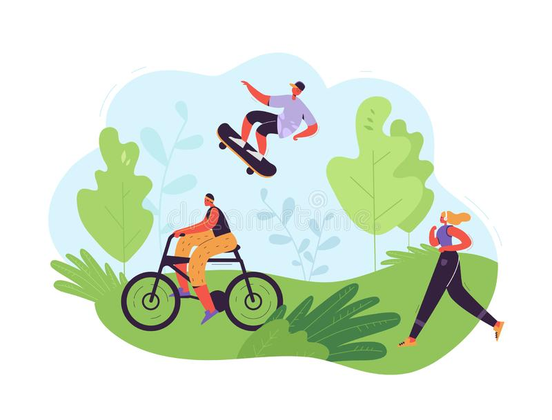 Healthy Lifestyle Concept. Active People Exercising in Park. Woman Running, Girl Riding Bicycle, Man Skateboarding. Outdoor Activities. Vector illustration vector illustration
