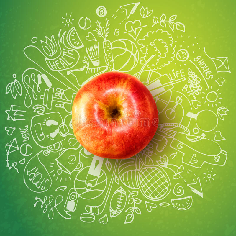 Healthy lifestyle concept with apple and doodles. Health lifestyle concept with apple and doodles about sport and healthy food royalty free illustration