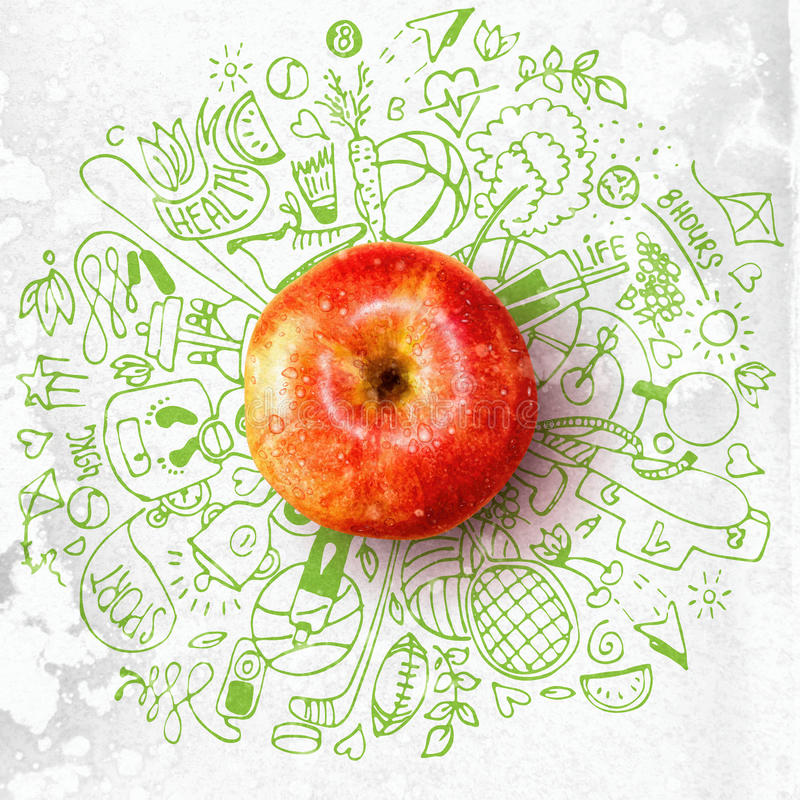 Healthy lifestyle concept with apple and doodles. Health lifestyle concept with apple and doodles about sport and healthy food stock illustration