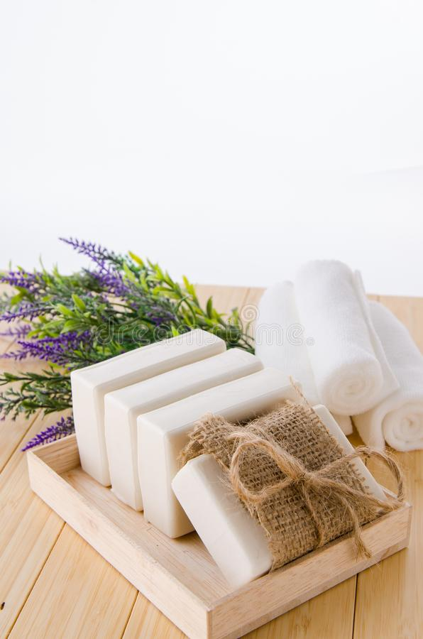 The healthy lifestyle concept with aromatic soaps stock photography