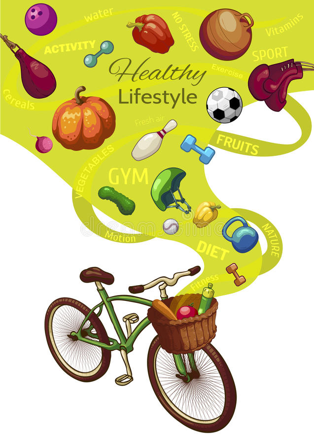 Healthy Lifestyle Concept. With bicycle and wicker basket fresh fruits and vegetables sports outfit vector illustration vector illustration