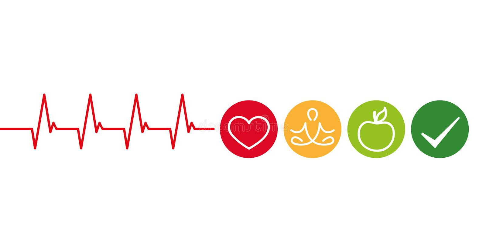 Healthy lifestyle concept cardiology with heart yoga and green apple. Vector illustration EPS10 vector illustration