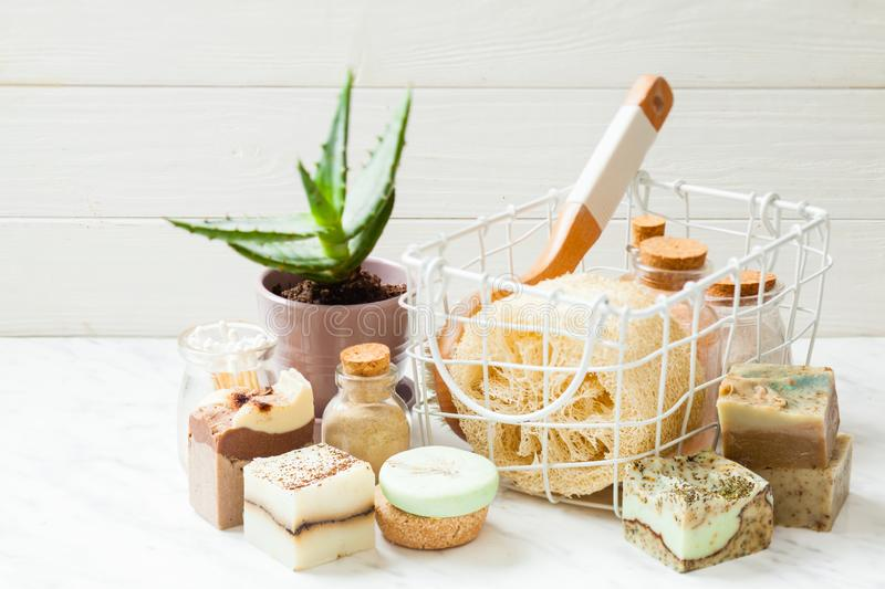 Healthy lifestyle concept. Composition with aloe and organic cosmetic. Healthy lifestyle concept. Composition with aloe and organic homemade body care cosmetic stock photos
