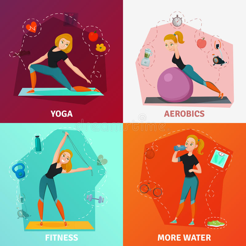 Healthy Lifestyle Concept. Healthy lifestyle 2x2 design concept with slim girl doing yoga fitness and aerobics isolated on colorful backgrounds cartoon vector royalty free illustration