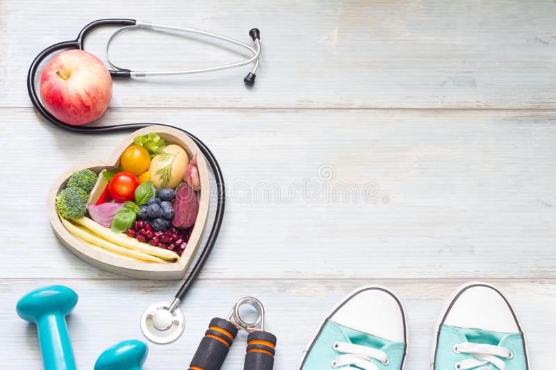 Healthy lifestyle concept with diet fitness and medicine stock image