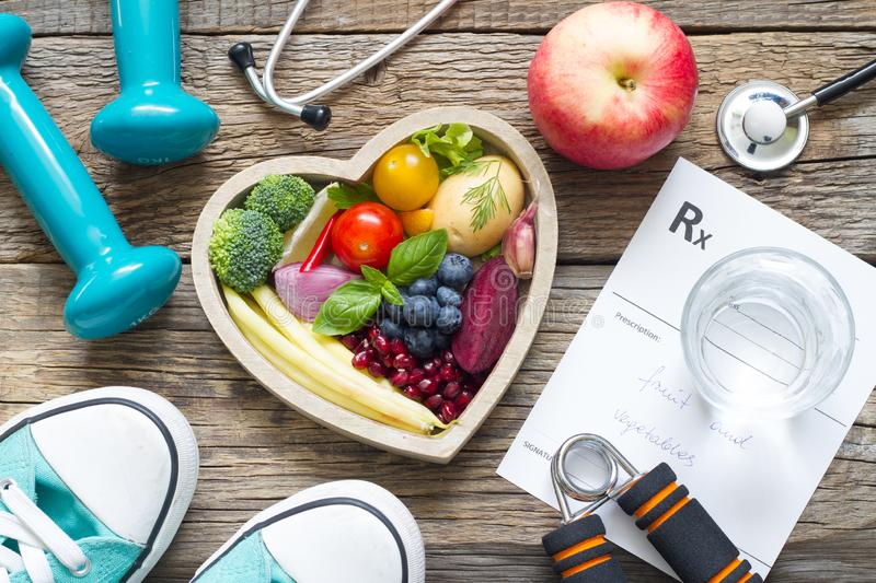Healthy lifestyle concept with diet fitness and medicine stock photo
