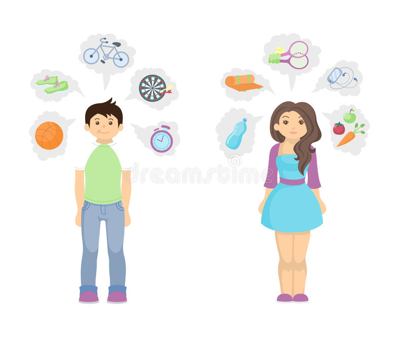 Healthy lifestyle concept. Fit and slim man and woman with icons showing good lifestyle vector illustration