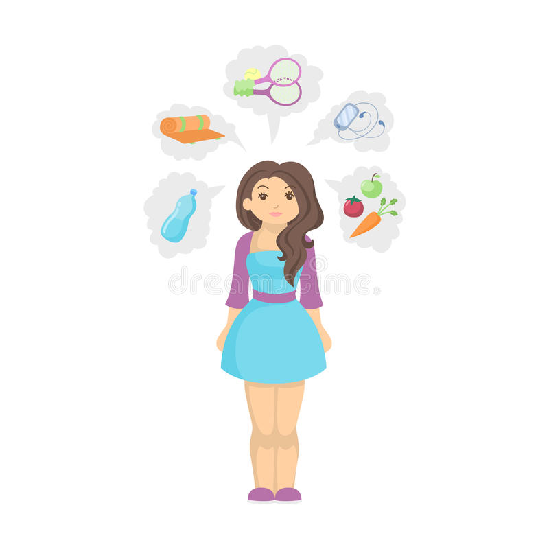 Healthy lifestyle concept. Fit and slim woman with icons showing her healthy habits as sport and diet royalty free illustration