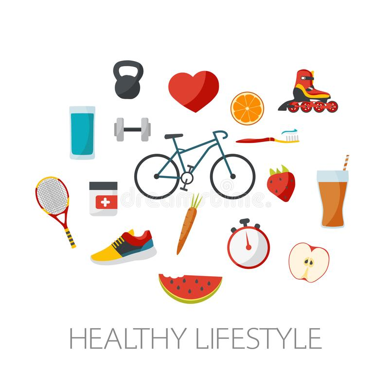 Healthy lifestyle concept in flat design. Sports and food design vector illustration
