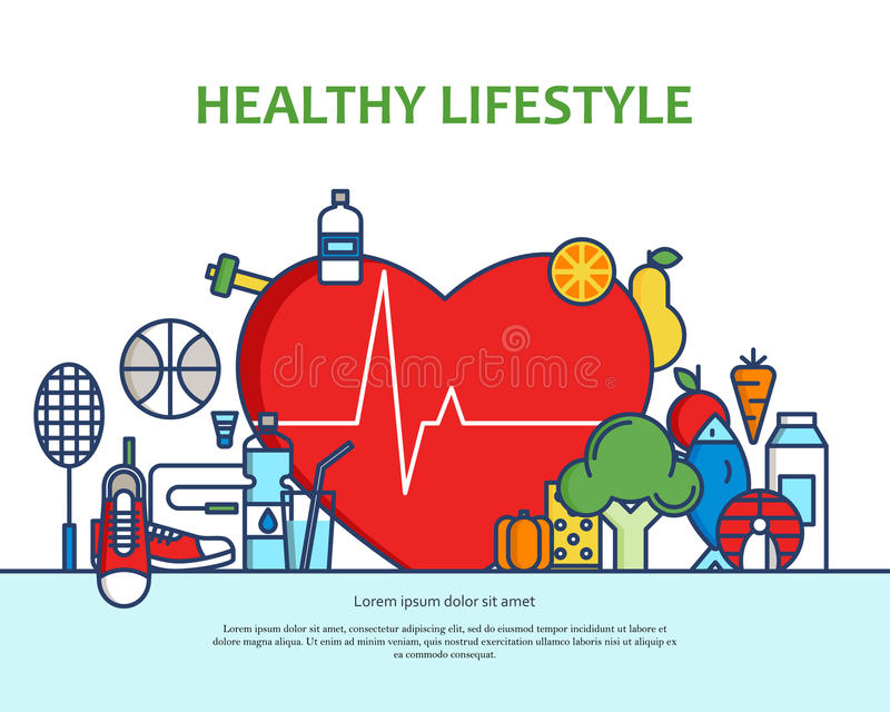 Healthy lifestyle concept with food and sport icons. Natural life vector background with heart shape. Phisycal activity. Banner for website or magazne. Header stock illustration