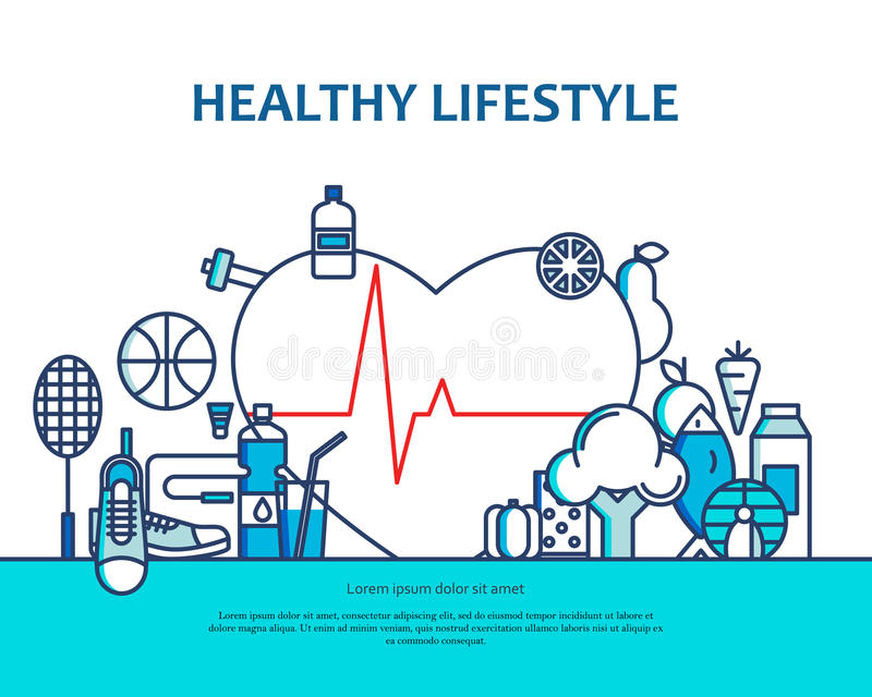 Healthy lifestyle concept with food and sport icons. Natural life vector background with heart shape. Physical activity. Banner for website or magazine. Header vector illustration
