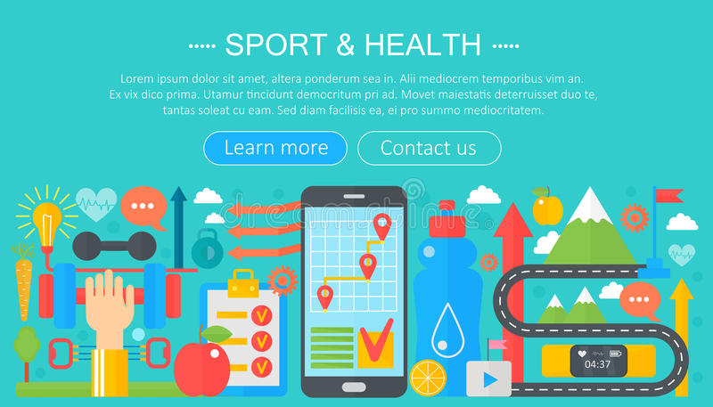 Healthy lifestyle concept with food and sport icons. Sport and fitness flat concept infographics header template design. Smartphone sport app. Vector stock illustration