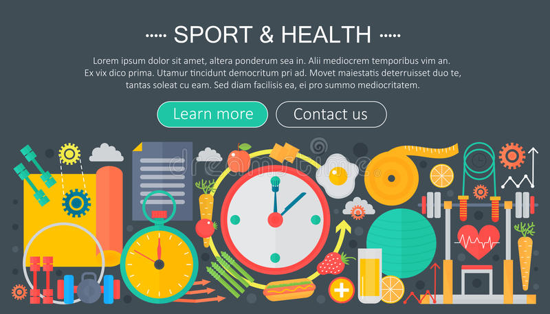 Healthy lifestyle concept with food and sport icons. Sport and fitness flat concept infographics header template design. Vector illustration royalty free illustration