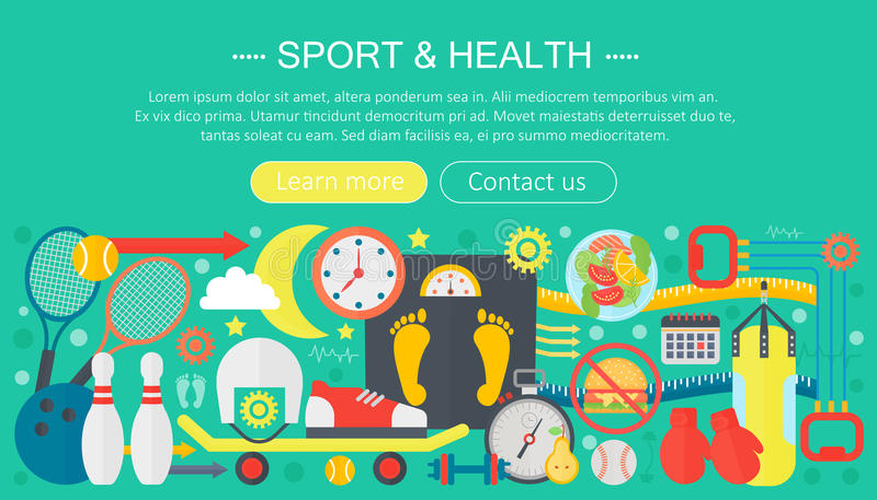 Healthy lifestyle concept with food and sport icons. Sport and fitness flat concept infographics template header design. Active life Vector illustration vector illustration
