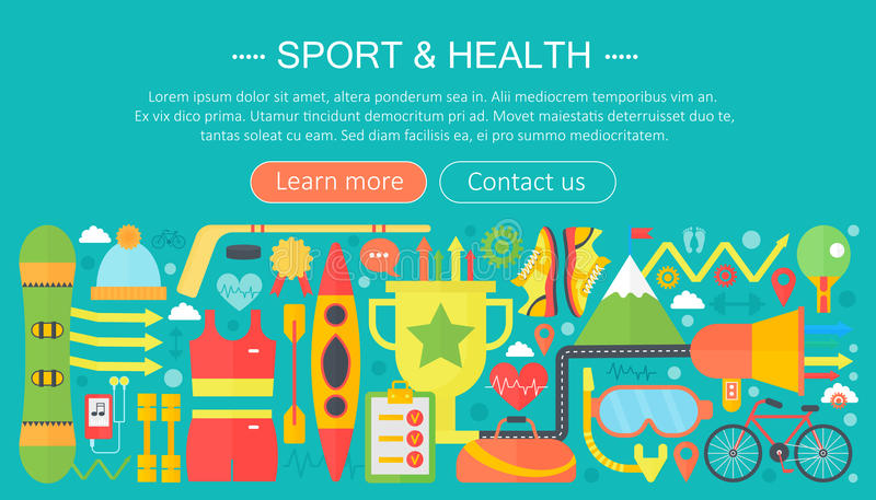 Healthy lifestyle concept with food and sport icons. Sport and fitness flat concept infographics template header design vector illustration