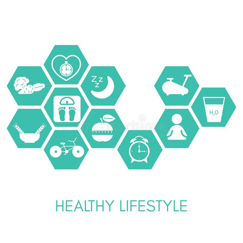 Healthy Lifestyle concept. With sport and diet icons. Vector illustration royalty free illustration