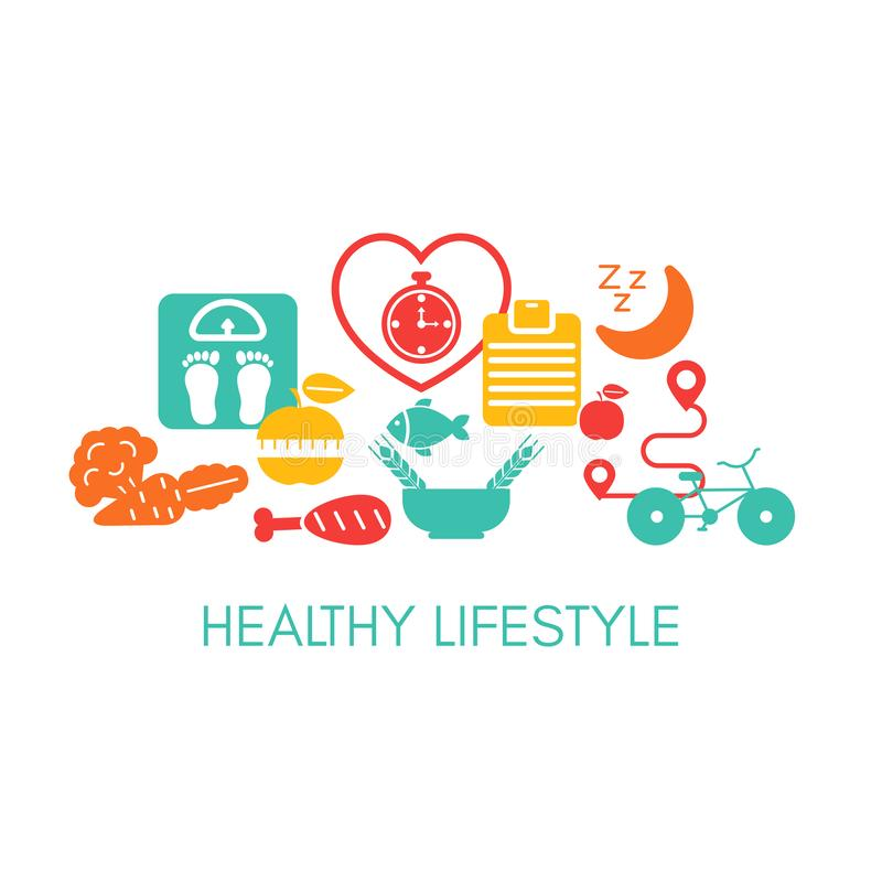 Healthy Lifestyle concept. With sport and diet icons. Vector illustration vector illustration
